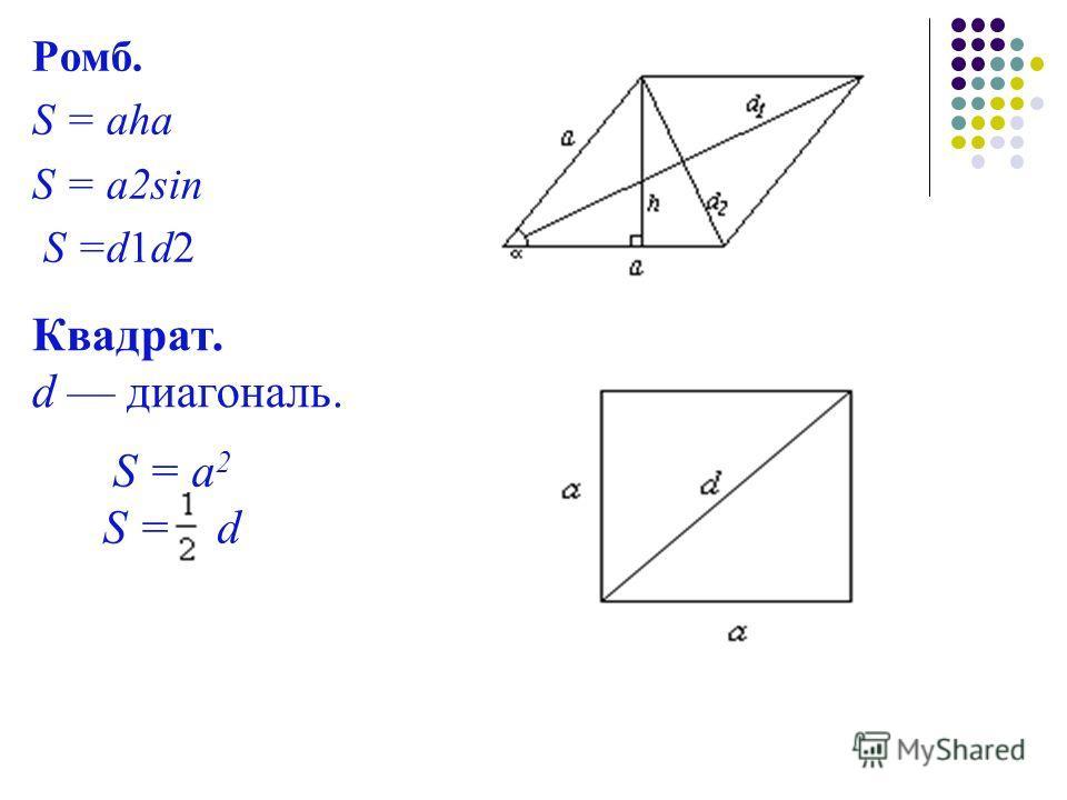 Ромб. S = aha S = a2sin S =d1d2 Квадрат. d диагональ. S = a 2 S = d