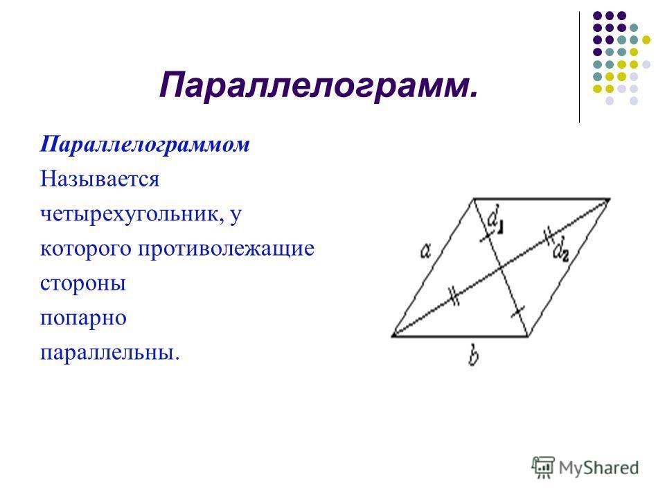 Параллелограмм. Параллелограммом Называется четырехугольник, у которого противолежащие стороны попарно параллельны.