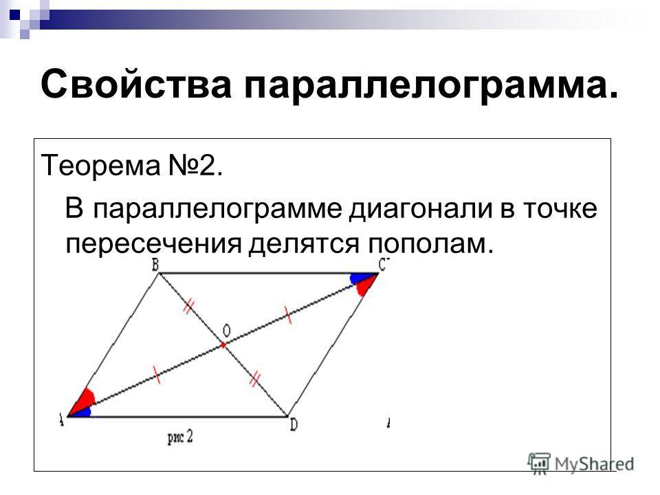 Свойства параллелограмма. Теорема 2. В параллелограмме диагонали в точке пересечения делятся пополам.