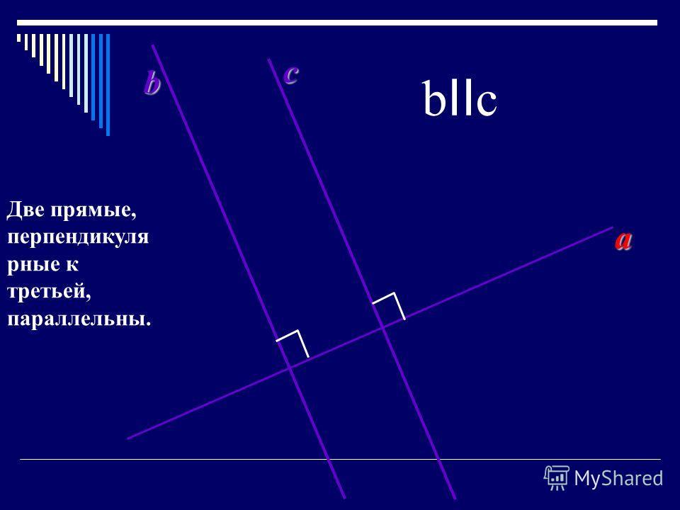 a b c b II c Две прямые, перпендикуля рные к третьей, параллельны.