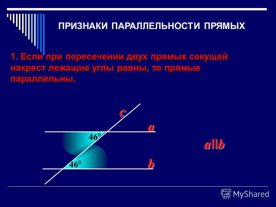 1. Если при пересечении двух прямых секущей накрест лежащие углы равны, то прямые параллельны. 46 0 a b a II b c ПРИЗНАКИ ПАРАЛЛЕЛЬНОСТИ ПРЯМЫХ.