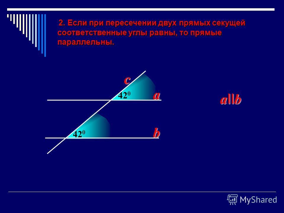 420420 2. Если при пересечении двух прямых секущей 2. Если при пересечении двух прямых секущей соответственные углы равны, то прямые соответственные углы равны, то прямые параллельны. параллельны. 420420 a b a II b c