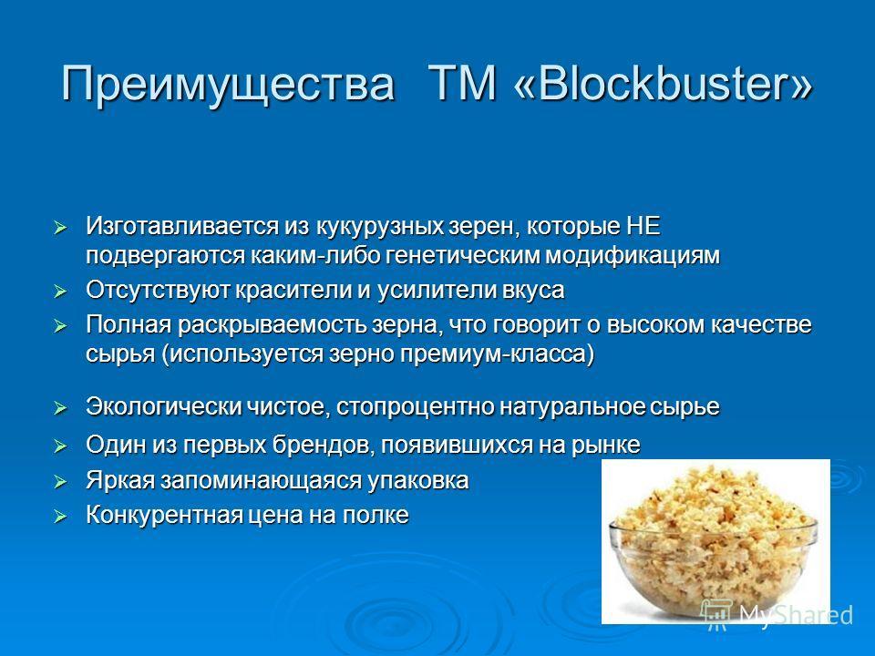Преимущества ТМ «Blockbuster» Изготавливается из кукурузных зерен, которые НЕ подвергаются каким-либо генетическим модификациям Изготавливается из кукурузных зерен, которые НЕ подвергаются каким-либо генетическим модификациям Отсутствуют красители и