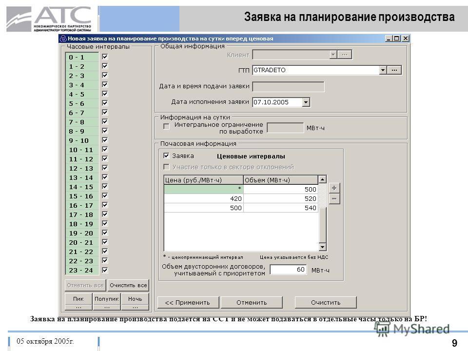 06 октября 2005 г. 9 Заявка на планирование производства 17 марта 2005 г.05 октября 2005г. Заявка на планирование производства подается на ССТ и не может подаваться в отдельные часы только на БР!