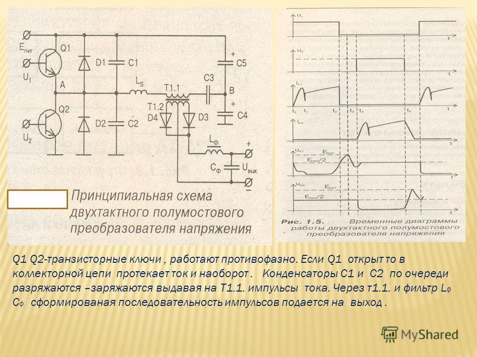 Q1 Q2-транзисторные ключи, работают противофазно. Если Q1 открыт то в коллекторной цепи протекает ток и наоборот. Конденсаторы С1 и С2 по очереди разряжаются –заряжаются выдавая на Т1.1. импульсы тока. Через т1.1. и фильтр L ф C ф сформированая после