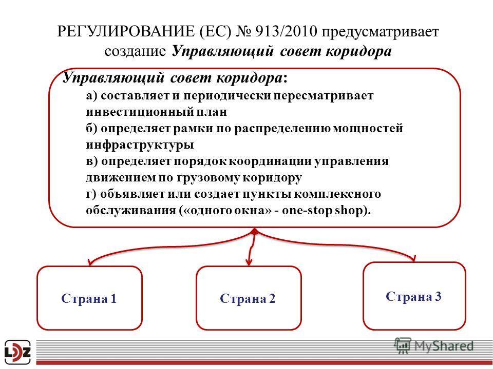 Page 8 РЕГУЛИРОВАНИЕ (EC) 913/2010 предусматривает создание Управляющий совет коридора Cтрана 1Cтрана 2 Cтрана 3 Управляющий совет коридора: а) составляет и периодически пересматривает инвестиционный план б) определяет рамки по распределению мощносте