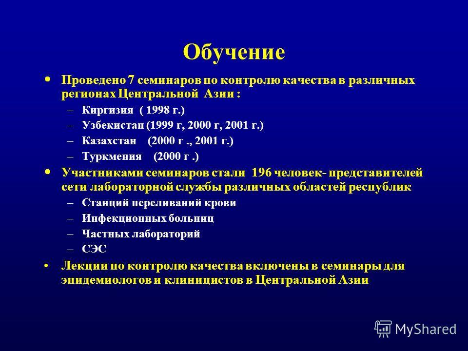 Обучение Проведено 7 семинаров по контролю качества в различных регионах Центральной Азии : –Киргизия ( 1998 г.) –Узбекистан (1999 г, 2000 г, 2001 г.) –Казахстан (2000 г., 2001 г.) –Туркмения (2000 г.) Участниками семинаров стали 196 человек- предста