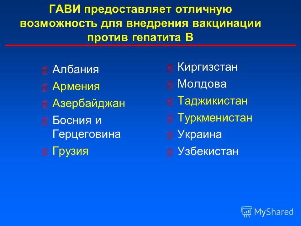 ГАВИ предоставляет отличную возможность для внедрения вакцинации против гепатита В 4 Албания 4 Армения 4 Азербайджан 4 Босния и Герцеговина 4 Грузия 4 Киргизстан 4 Молдова 4 Таджикистан 4 Туркменистан 4 Украина 4 Узбекистан