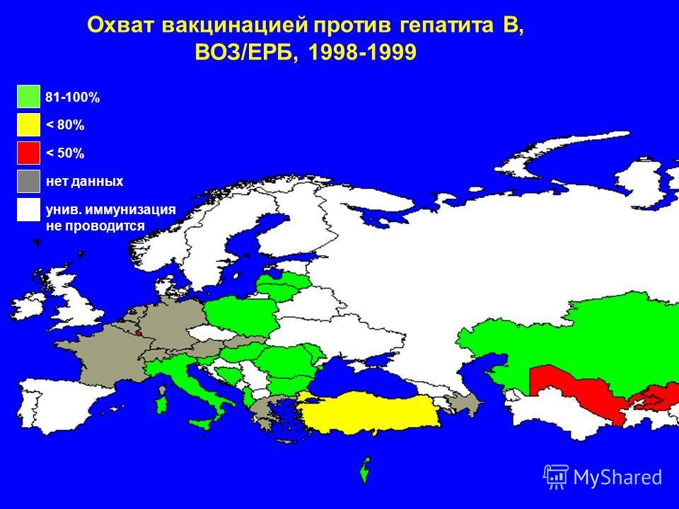 Охват вакцинацией против гепатита B, ВОЗ/ЕРБ, 1998-1999 81-100% < 80% < 50% нет данных унив. иммунизация не проводится