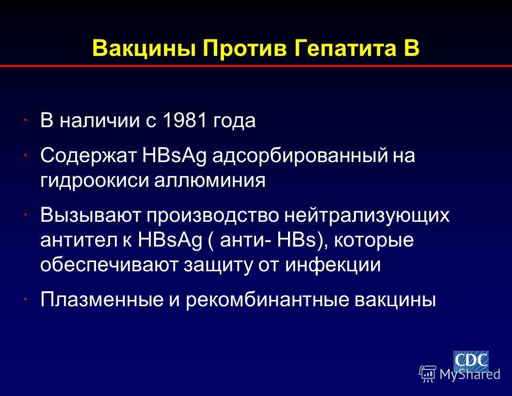 Вакцины Против Гепатита В ·В наличии с 1981 года ·Содержат HBsAg адсорбированный на гидроокиси аллюминия ·Вызывают производство нейтрализующих антител к HBsAg ( анти- HBs), которые обеспечивают защиту от инфекции ·Плазменные и рекомбинантные вакцины