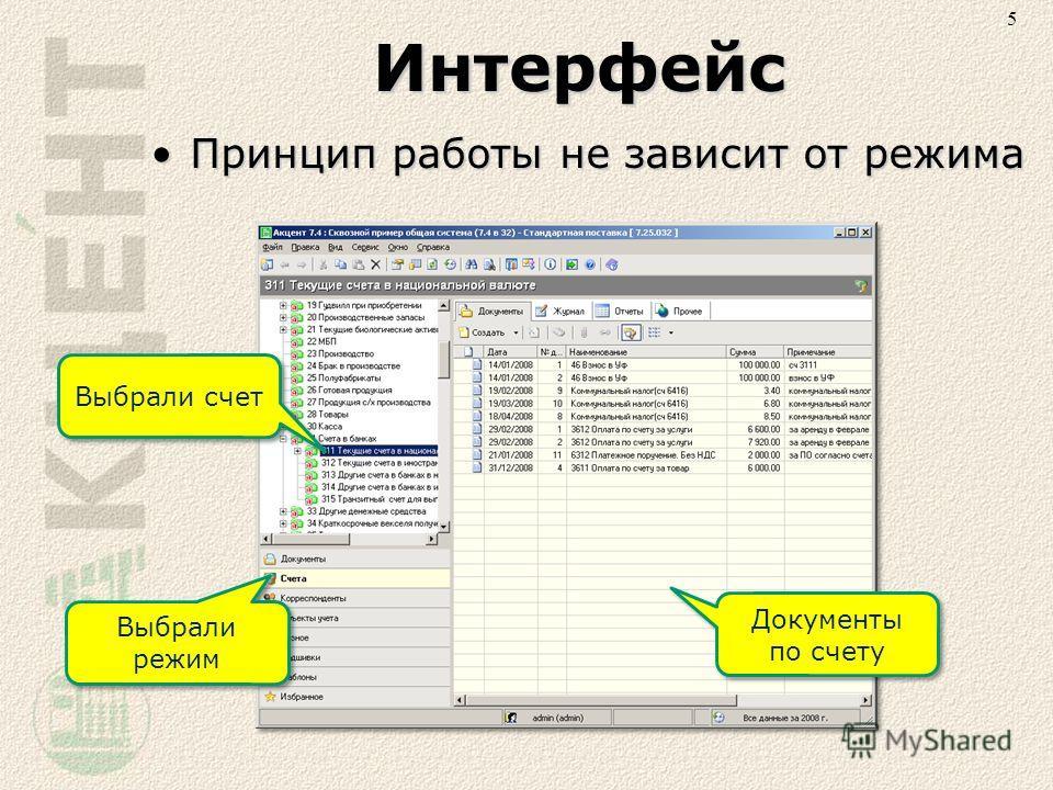Интерфейс Принцип работы не зависит от режимаПринцип работы не зависит от режима 5 Выбрали режим Выбрали счет Документы по счету