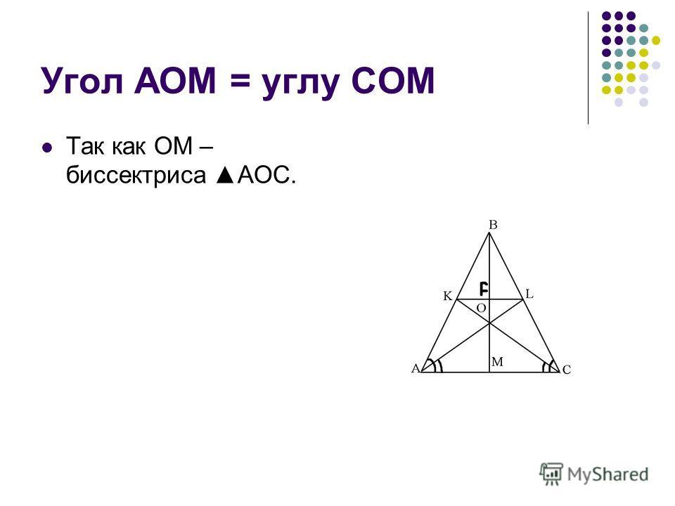 Угол AOM = углу COM Так как OM – биссектриса AOC.