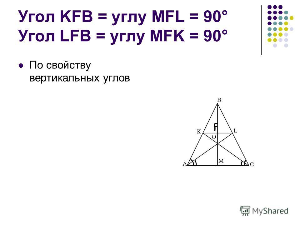Угол KFB = углу MFL = 90° Угол LFB = углу MFK = 90° По свойству вертикальных углов