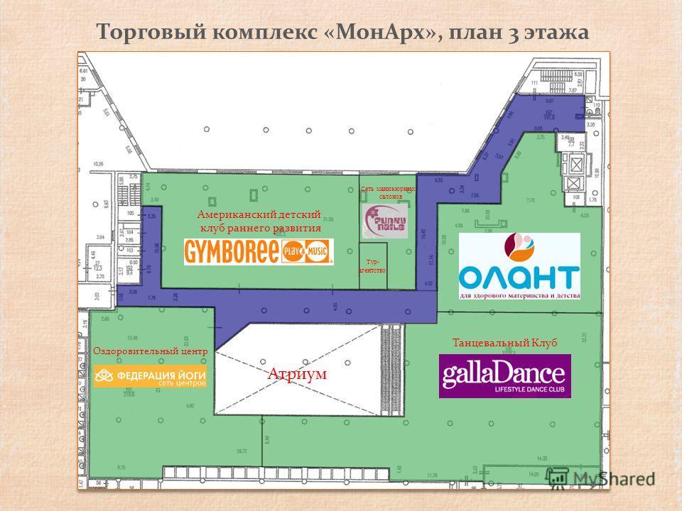 Торговый комплекс «МонАрх», план 3 этажа Атриум Американский детский клуб раннего развития Оздоровительный центр Танцевальный Клуб Тур- агентство Сеть маникюрных салонов