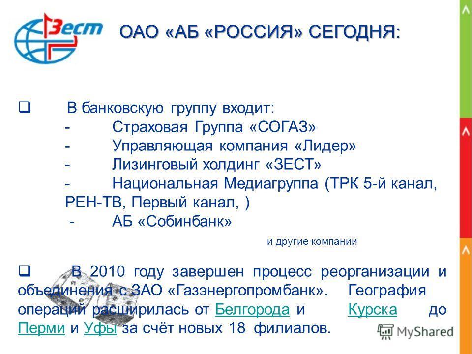 В банковскую группу входит: - Страховая Группа «СОГАЗ» - Управляющая компания «Лидер» - Лизинговый холдинг «ЗЕСТ» - Национальная Медиагруппа (ТРК 5-й канал, РЕН-ТВ, Первый канал, ) - АБ «Собинбанк» и другие компании В 2010 году завершен процесс реорг