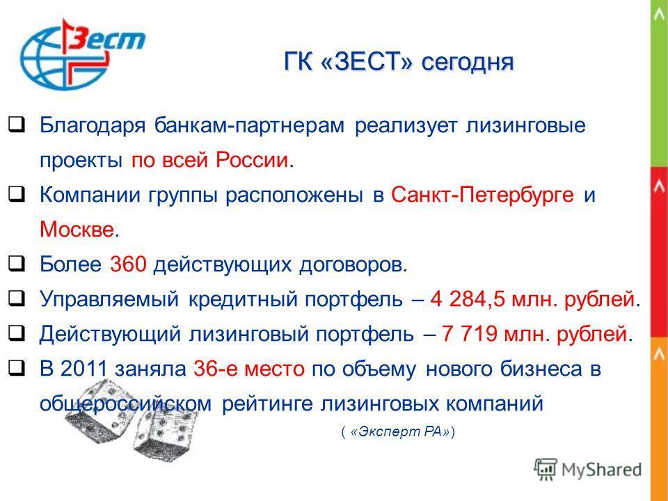 ГК «ЗЕСТ» сегодня Благодаря банкам-партнерам реализует лизинговые проекты по всей России. Компании группы расположены в Санкт-Петербурге и Москве. Более 360 действующих договоров. Управляемый кредитный портфель – 4 284,5 млн. рублей. Действующий лизи