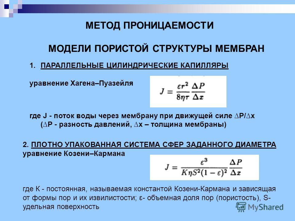 1.ПАРАЛЛЕЛЬНЫЕ ЦИЛИНДРИЧЕСКИЕ КАПИЛЛЯРЫ уравнение Хагена–Пуазейля где J - поток воды через мембрану при движущей силе P/x (P - разность давлений, x – толщина мембраны) МОДЕЛИ ПОРИСТОЙ СТРУКТУРЫ МЕМБРАН 2. ПЛОТНО УПАКОВАННАЯ СИСТЕМА СФЕР ЗАДАННОГО ДИА