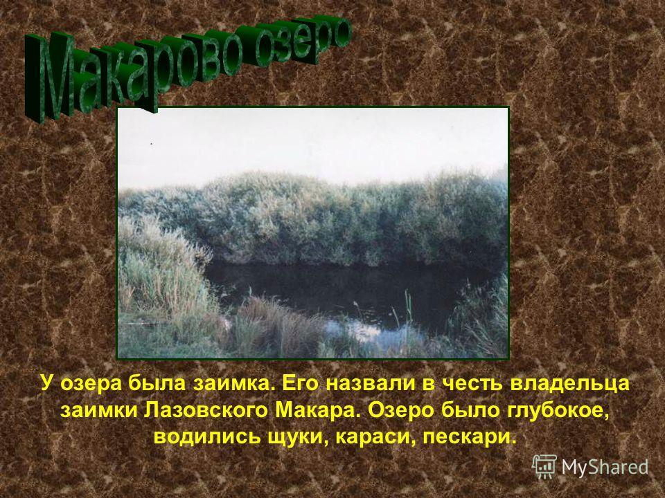У озера была заимка. Его назвали в честь владельца заимки Лазовского Макара. Озеро было глубокое, водились щуки, караси, пескари.