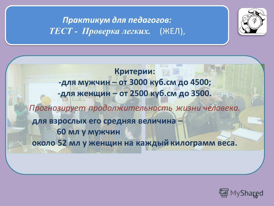 Практикум для педагогов: ТЕСТ - Проверка легких. (ЖЕЛ), Практикум для педагогов: ТЕСТ - Проверка легких. (ЖЕЛ), Критерии: -для мужчин – от 3000 куб.см до 4500; -для женщин – от 2500 куб.см до 3500. Прогнозирует продолжительность жизни человека. для в
