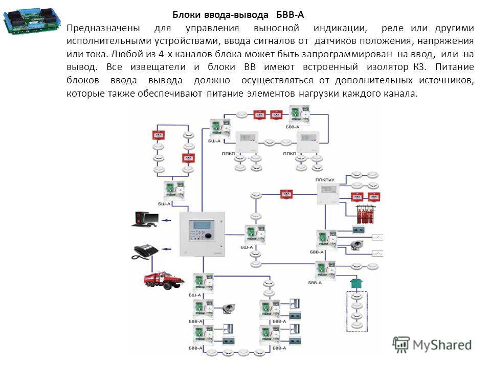 Блоки ввода-вывода БВВ-А Предназначены для управления выносной индикации, реле или другими исполнительными устройствами, ввода сигналов от датчиков положения, напряжения или тока. Любой из 4-х каналов блока может быть запрограммирован на ввод, или на