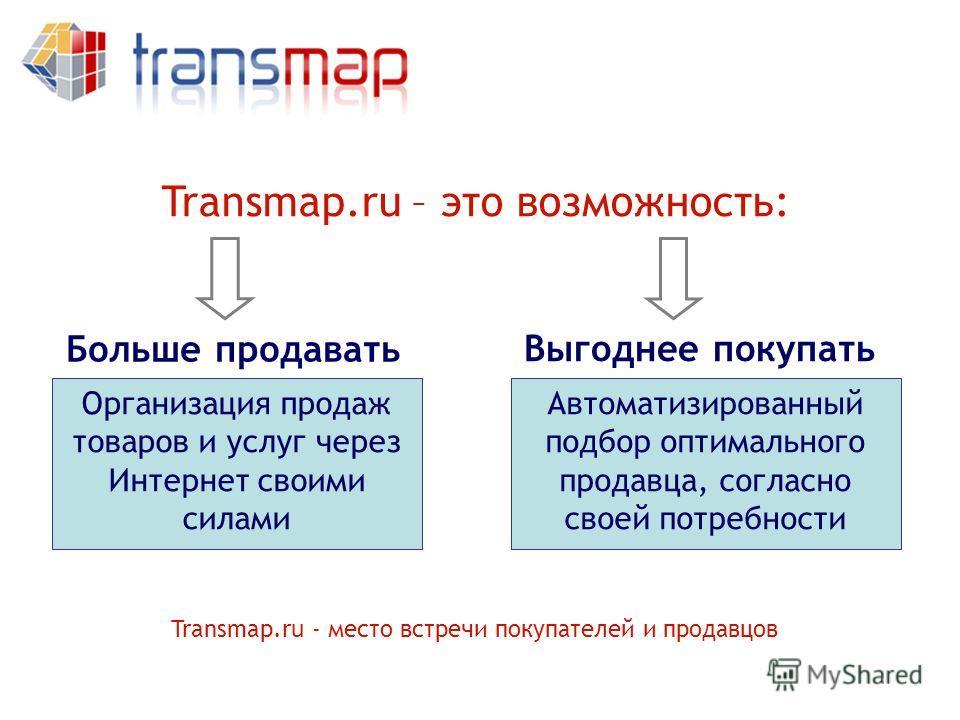 Больше продавать Выгоднее покупать Transmap.ru – это возможность: Организация продаж товаров и услуг через Интернет своими силами Автоматизированный подбор оптимального продавца, согласно своей потребности Transmap.ru - место встречи покупателей и пр