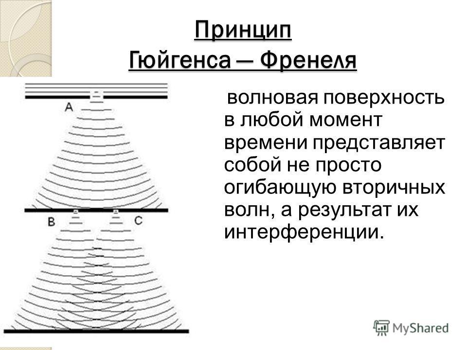 Принцип Гюйгенса Френеля волновая поверхность в любой момент времени представляет собой не просто огибающую вторичных волн, а результат их интерференции.