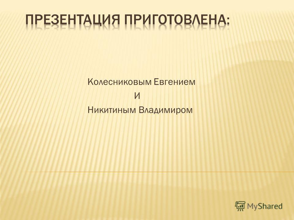 Колесниковым Евгением И Никитиным Владимиром