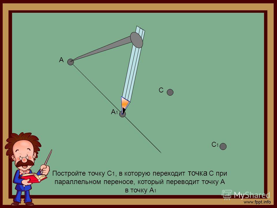 Постройте точку С 1, в которую переходит точка С при параллельном переносе, который переводит точку А в точку А 1 А А1А1 С С1С1