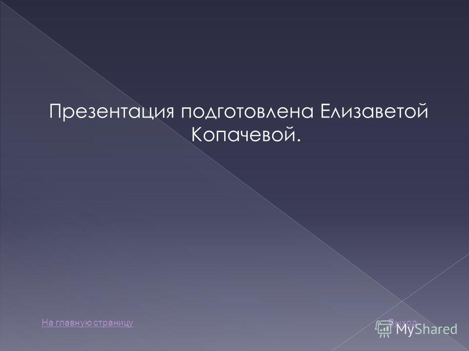 Презентация подготовлена Елизаветой Копачевой. На главную страницуВыход
