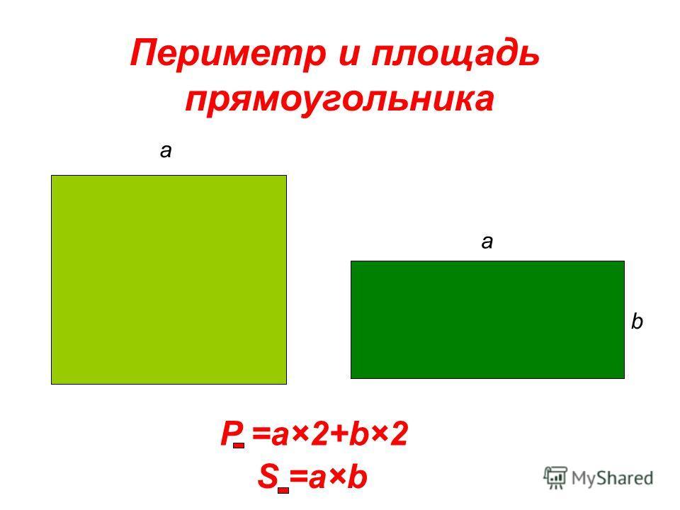 a a b P =a×2+b×2 S =a×b