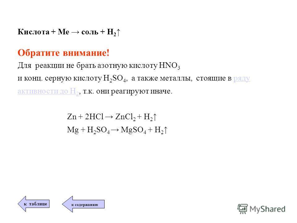 Кислота + Ме соль + Н 2 Обратите внимание! Для реакции не брать азотную кислоту HNO 3 и конц. серную кислоту H 2 SO 4, а также металлы, стоящие в ряду активности до Н 2, т.к. они реагируют иначе.ряду активности до Н 2 Zn + 2HCl ZnCl 2 + H 2 Mg + H 2