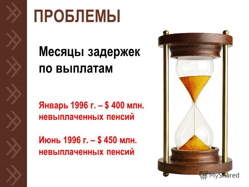 ПРОБЛЕМЫ Месяцы задержек по выплатам Январь 1996 г. – $ 400 млн. невыплаченных пенсий Июнь 1996 г. – $ 450 млн. невыплаченных пенсий