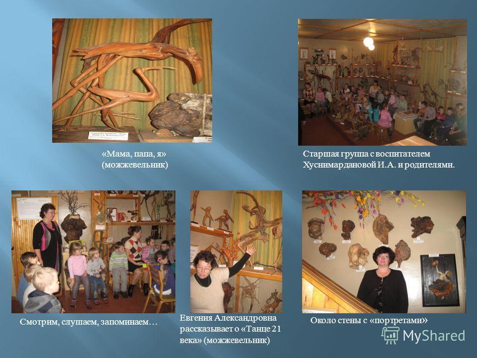 Смотрим, слушаем, запоминаем… Евгения Александровна рассказывает о «Танце 21 века» (можжевельник) Около стены с «портретами » «Мама, папа, я» (можжевельник) Старшая группа с воспитателем Хуснимардановой И.А. и родителями.