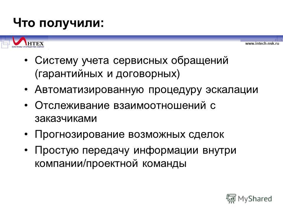www.intech-nsk.ru Что получили: Систему учета сервисных обращений (гарантийных и договорных) Автоматизированную процедуру эскалации Отслеживание взаимоотношений с заказчиками Прогнозирование возможных сделок Простую передачу информации внутри компани