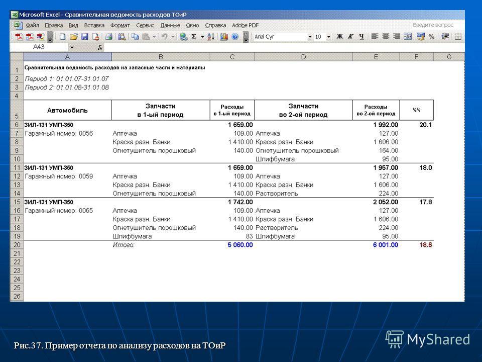Рис.37. Пример отчета по анализу расходов на ТОиР