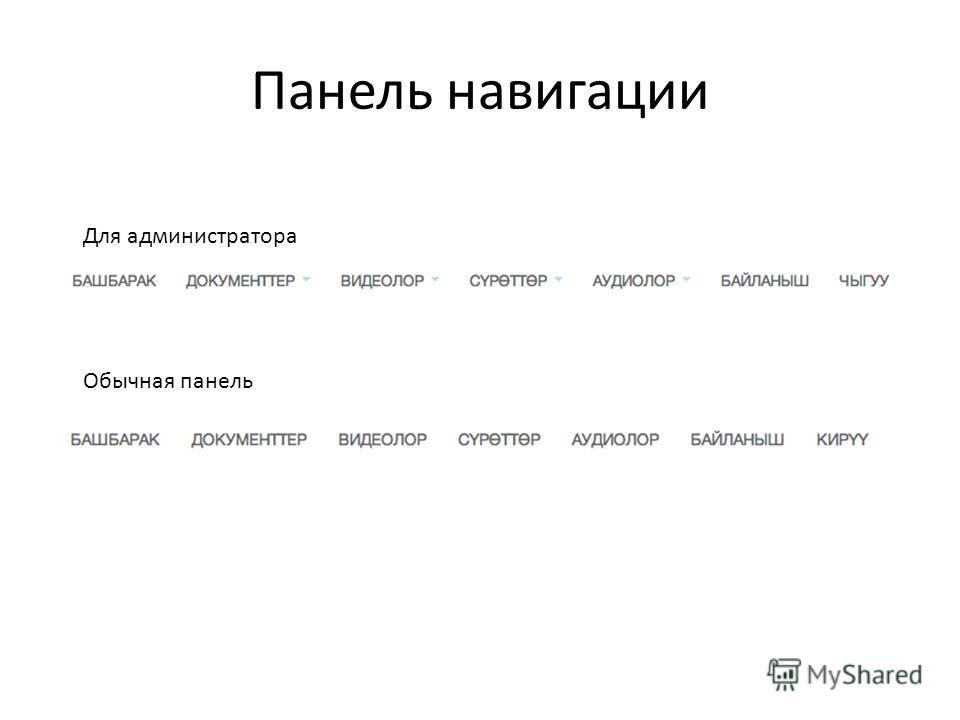 Панель навигации Для администратора Обычная панель