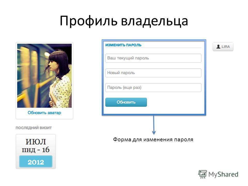 Форма для изменения пароля Профиль владельца