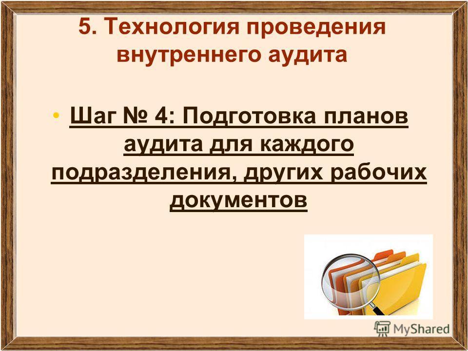 5. Технология проведения внутреннего аудита Шаг 4: Подготовка планов аудита для каждого подразделения, других рабочих документов