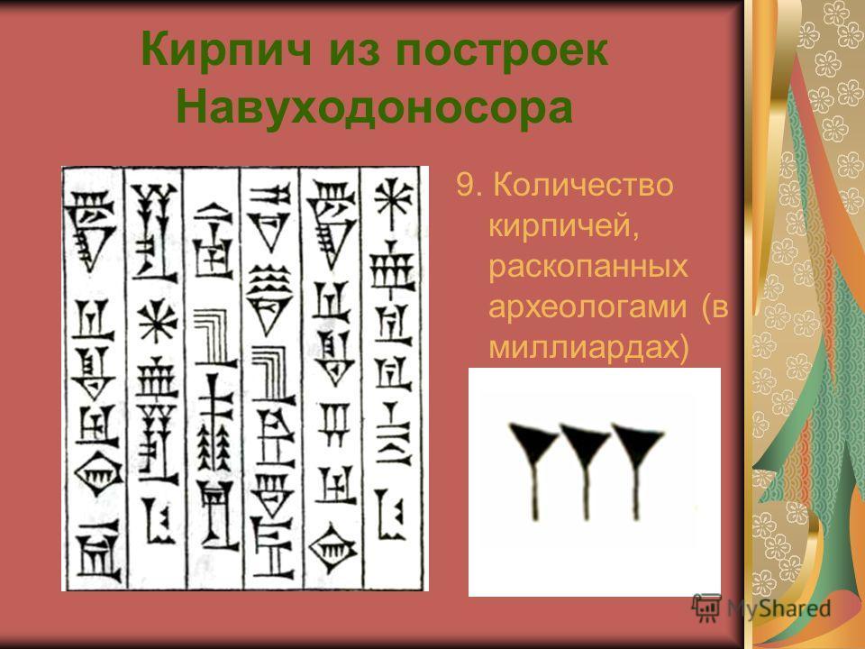 Кирпич из построек Навуходоносора 9. Количество кирпичей, раскопанных археологами (в миллиардах)