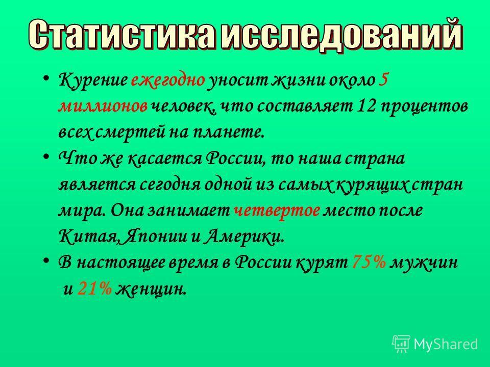 Курение ежегодно уносит жизни около 5 миллионов человек, что составляет 12 процентов всех смертей на планете. Что же касается России, то наша страна является сегодня одной из самых курящих стран мира. Она занимает четвертое место после Китая, Японии