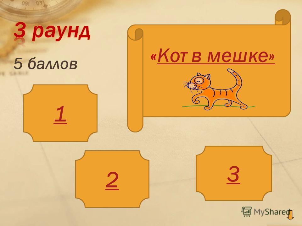 5 баллов 1 2 3 «Кот в мешке»Кот в мешке»