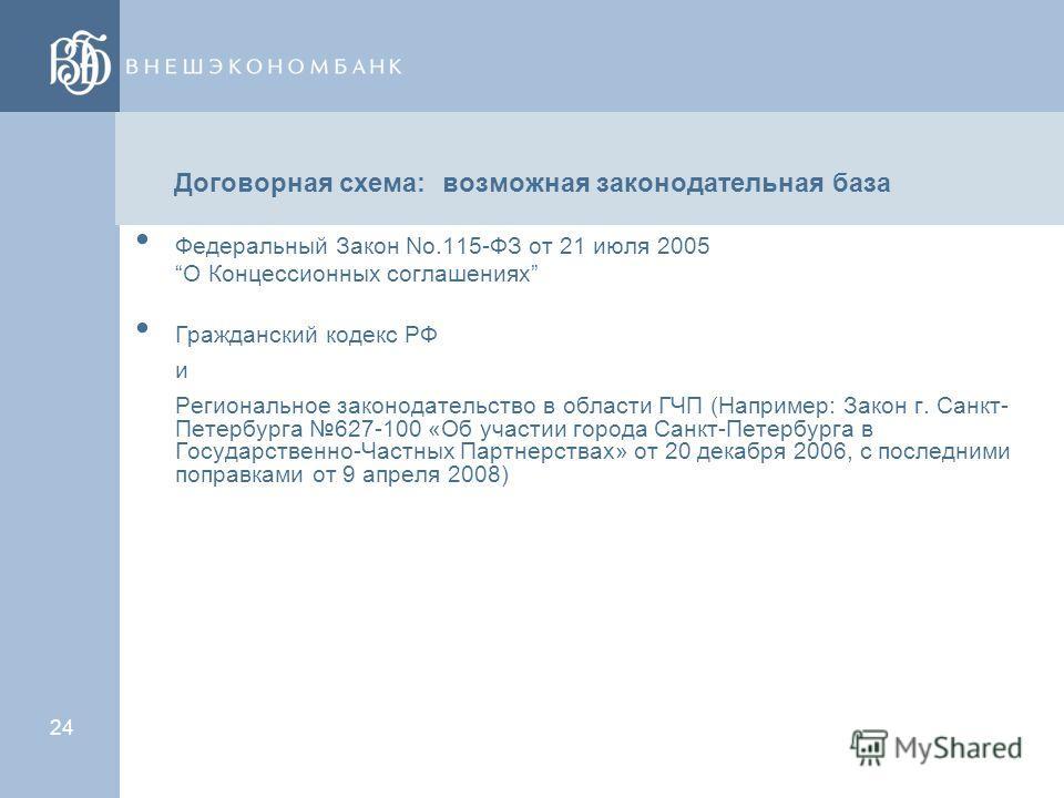 23 Модели ГЧП в России (2) Выбор формы контракта Акционерное соглашение Концессия, аренда публичной собственности частным участником и инвестиционный договор по ее улучшению Договор услуг Инвестиционный договор по созданию объекта частным участником
