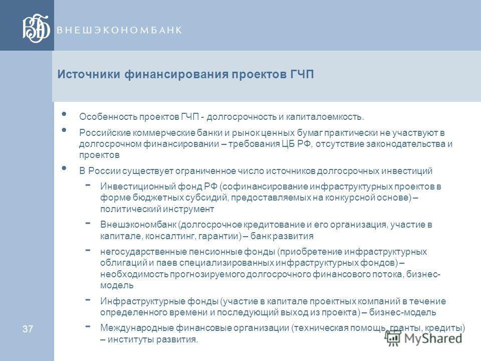 36 Содержание ГЧП Юридические модели ГЧП. Организация управления проектом ГЧП Обеспечение обязательств ОГМУ по проектам ГЧП