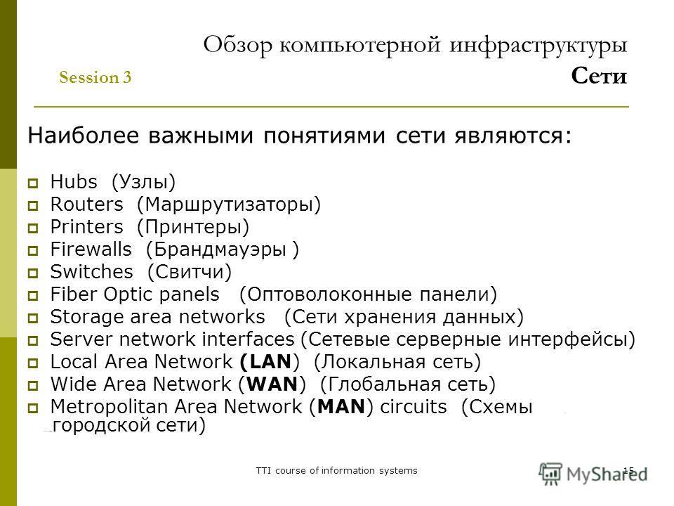 TTI course of information systems15 Наиболее важными понятиями сети являются: Hubs (Узлы) Routers (Маршрутизаторы) Printers (Принтеры) Firewalls (Брандмауэры ) Switches (Свитчи) Fiber Optic panels (Оптоволоконные панели) Storage area networks (Сети х