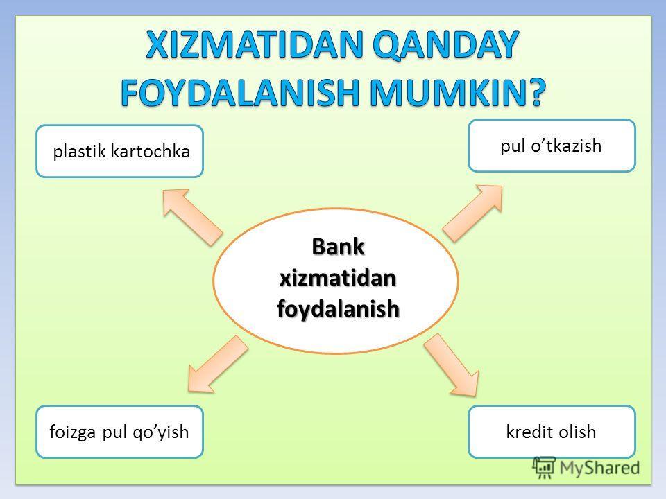Bank xizmatidan foydalanish pul otkazish plastik kartochka foizga pul qoyishkredit olish