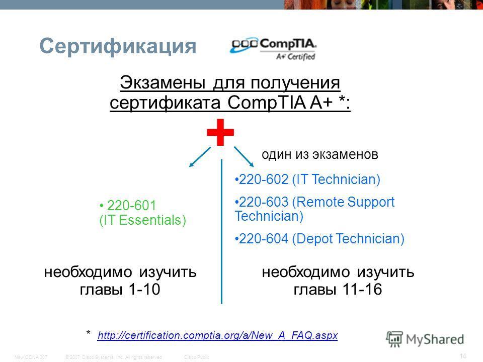 © 2007 Cisco Systems, Inc. All rights reserved.Cisco PublicNew CCNA 307 14 Сертификация Экзамены для получения сертификата CompTIA A+ *: 220-601 (IT Essentials) один из экзаменов * http://certification.comptia.org/a/New_A_FAQ.aspx 220-602 (IT Technic