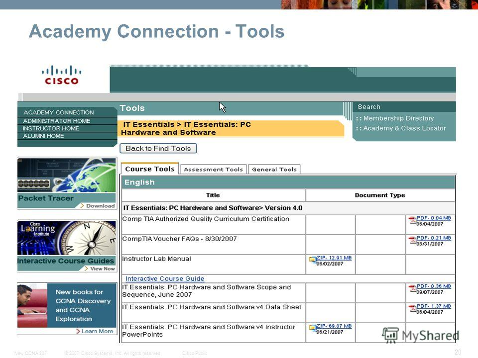 © 2007 Cisco Systems, Inc. All rights reserved.Cisco PublicNew CCNA 307 20 Academy Connection - Tools