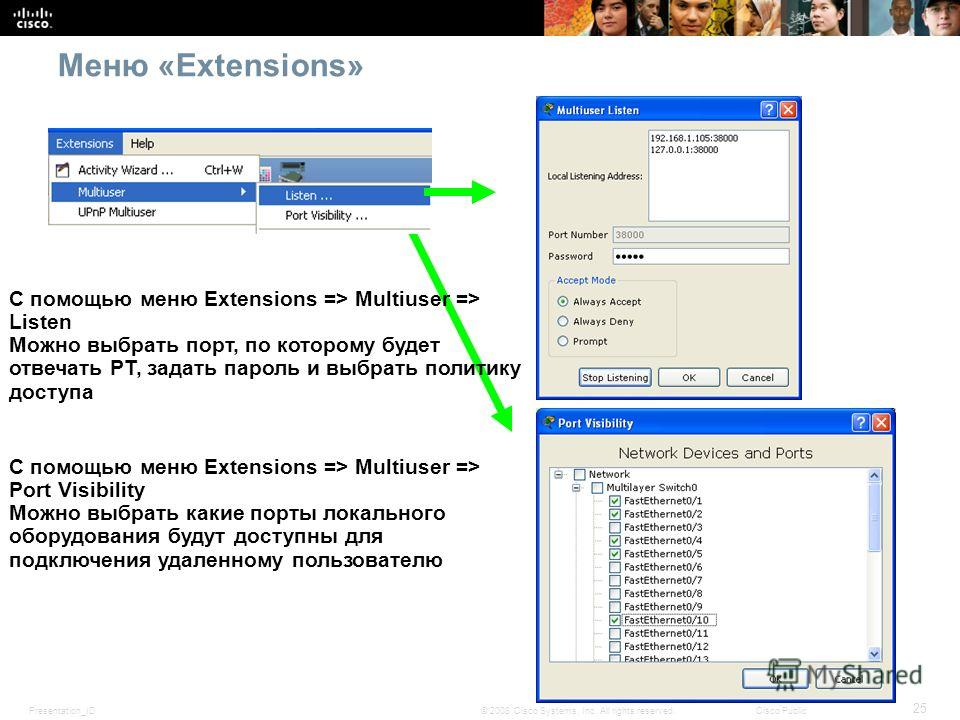 Presentation_ID 25 © 2008 Cisco Systems, Inc. All rights reserved.Cisco Public Меню «Extensions» С помощью меню Extensions => Multiuser => Listen Можно выбрать порт, по которому будет отвечать PT, задать пароль и выбрать политику доступа С помощью ме