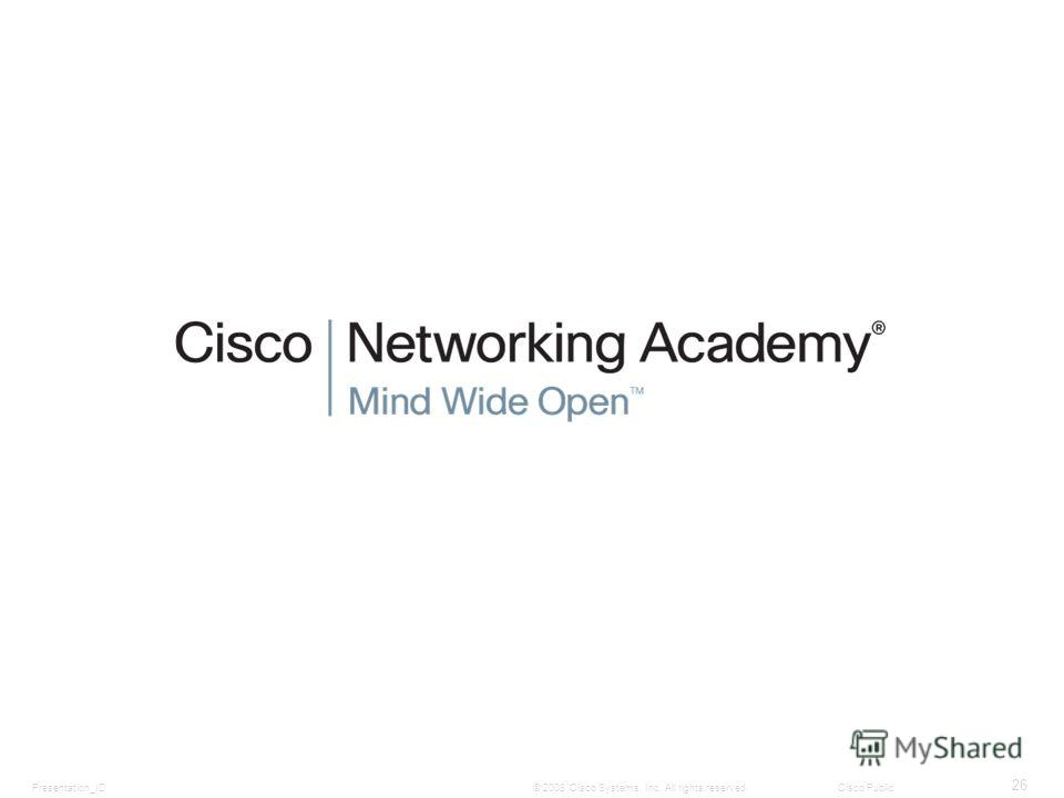Presentation_ID 26 © 2008 Cisco Systems, Inc. All rights reserved.Cisco Public