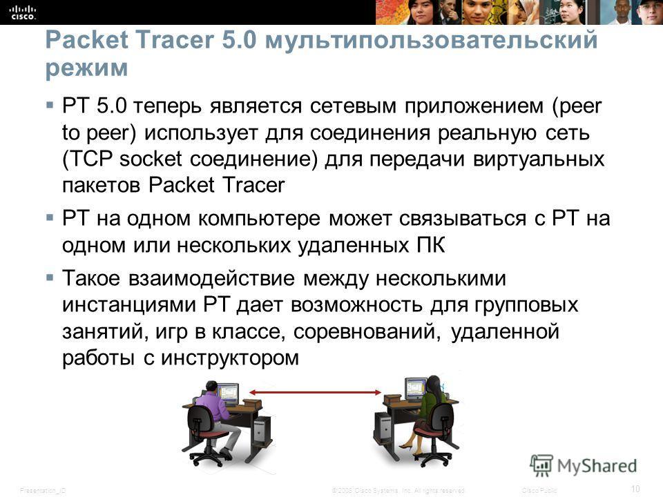 Presentation_ID 10 © 2008 Cisco Systems, Inc. All rights reserved.Cisco Public Packet Tracer 5.0 мультипользовательский режим PT 5.0 теперь является сетевым приложением (peer to peer) использует для соединения реальную сеть (TCP socket соединение) дл